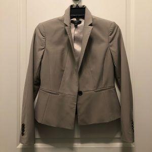 Ann Taylor Light Gray Cropped Wool Blend Blazer 2P
